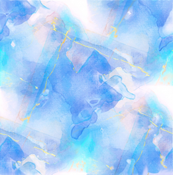Watercolor abstract mainly blues and yellows, painting by JoeKaArt