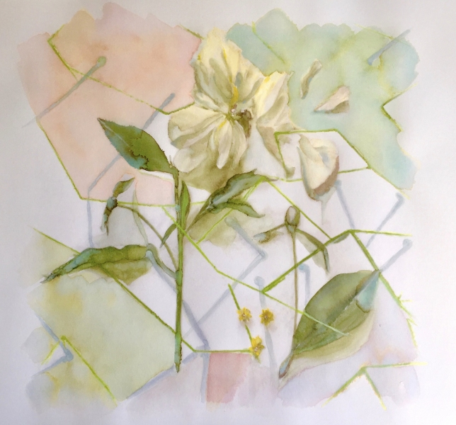 White peony flower and triangles, painting by JoeKaArt