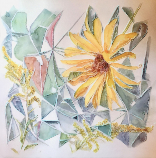 Sun flower and triangles, painting by JoeKaArt