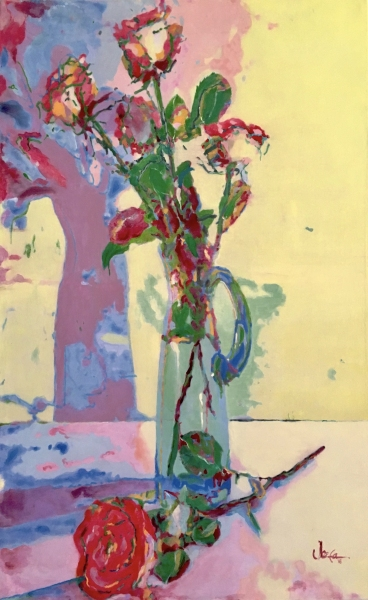 Roses in blue glass vase, dramatic shadow play, painting by JoeKaArt