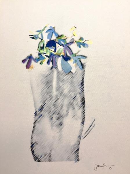 Snowdrops in grey vase, painting by JoeKaArt