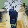 Snowdrops in blue vase, painting by JoeKaArt