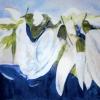 Snowdrops in blue colors, painting by JoeKaArt